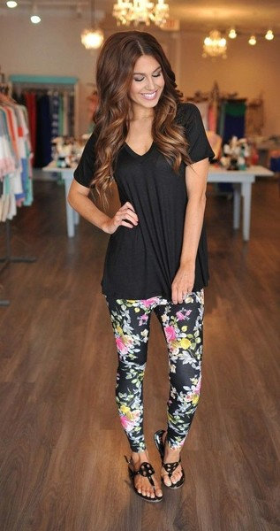 Get comfy in leggings and a loose t-shirt