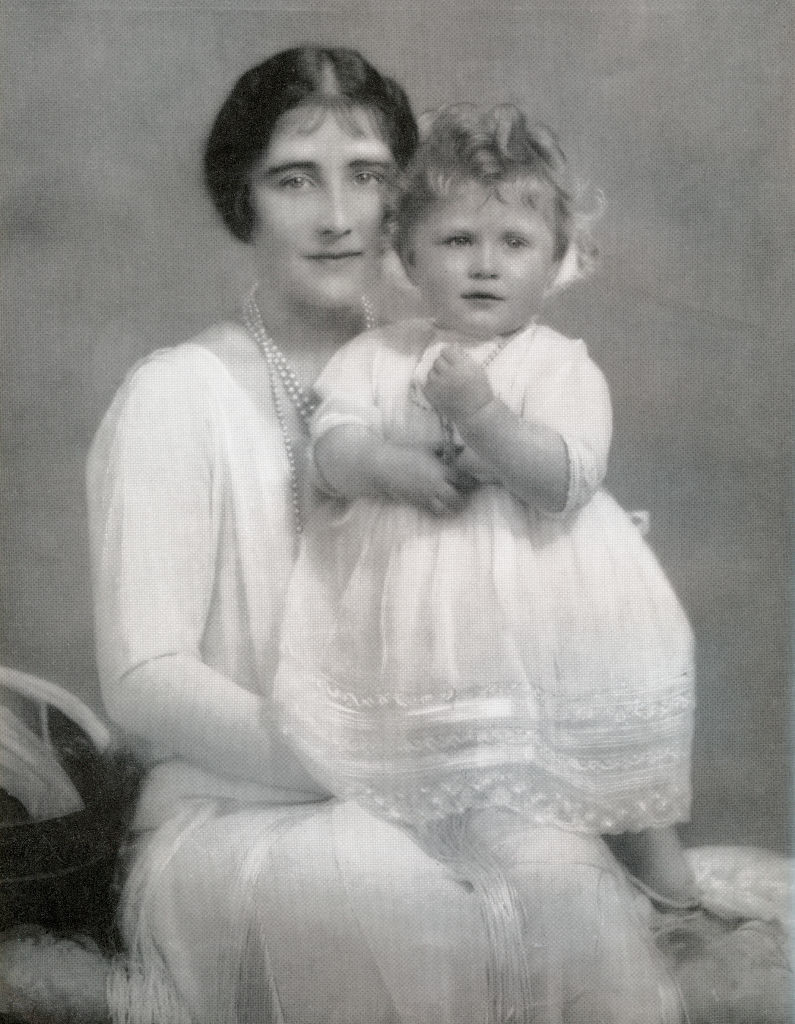 Princess Elizabeth in pearls and lace with her mother,Elizabeth Bowes-Lyon,in 1927. Princess Elizabeth was born April 21, 1926.